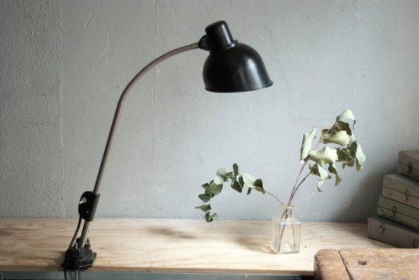 Lampe de bureau à pince vintage noire de helion en vente sur