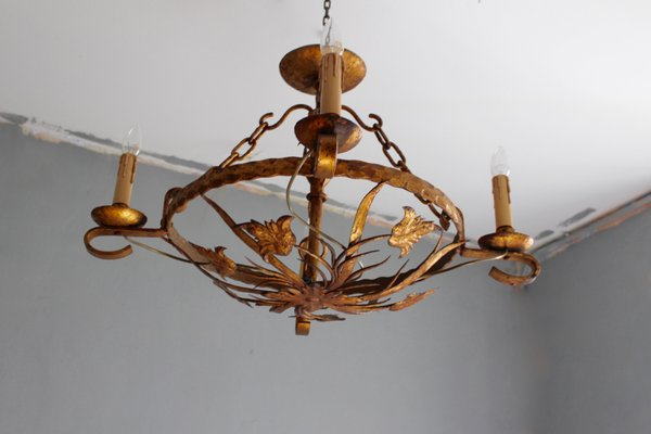 Kronleuchter Eisen ~ Runder jugendstil kronleuchter aus vergoldetem eisen 1870er bei