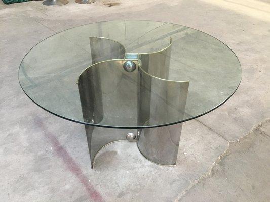 Mesa de comedor italiana de acero inoxidable y vidrio, años 70 en ...