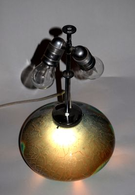 Ikora Blue And Green Glass Table Lamp By Wiedmann For Wmf 1930s For