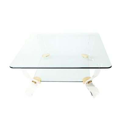 Square Glass U0026 Lucite Coffee Table By Charles Hollis Jones, ...
