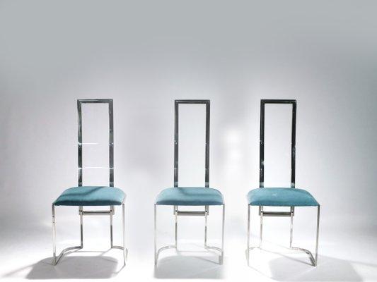 Merveilleux Italian Metal U0026 Plexiglass Chairs, 1970s, ...
