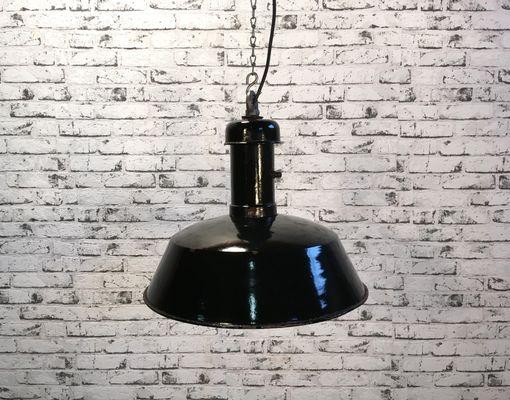 Vintage Industrielle Lampe En Suspension Email À Noir N80mnwv