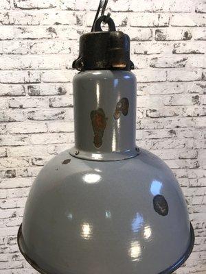 Graue Vintage Industrie Bauhaus Hängelampe aus Emaille