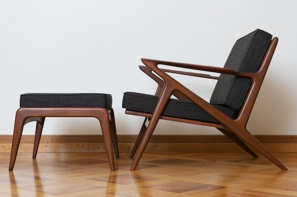 Z Chair With Ottoman In Bangkok Teak By Poul Jensen For Haslev, 1957 1