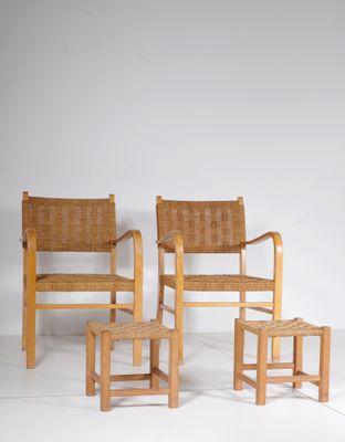 Small Wooden Armchair U0026 Ottoman, 1950s, ...