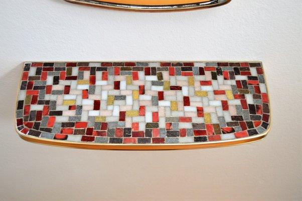 Messing Mosaik Spiegel Mit Konsole 1950er