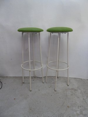 French White Lacquered Metal Barstools 1950s Set Of 2 For Sale At