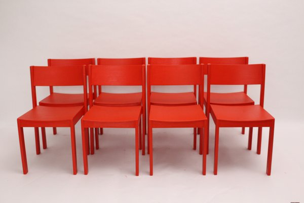 Mid-Century Modern Red Dining Room Chairs by Carl Auböck for E & A Pollack,  1950s, Set of 8