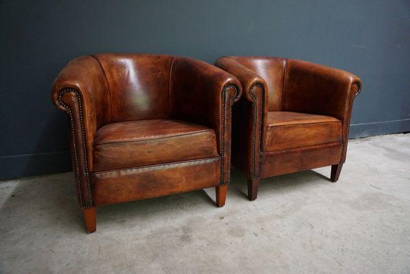 Beau Vintage Dutch Cognac Leather Club Chairs, Set Of 2 2