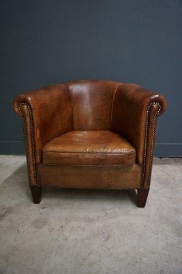 Dutch Vintage Cognac Colored Leather Club Chair 1