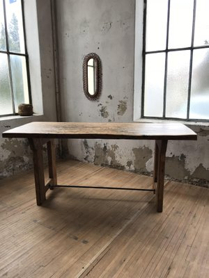 Tavolo da pranzo industriale in legno, anni \'50 in vendita su Pamono
