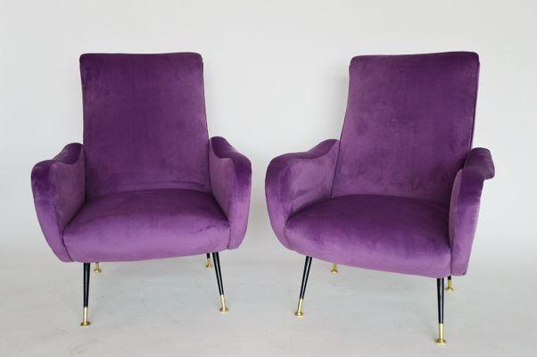 Ordinaire Italian Light Purple Velvet Armchairs, 1950s, Set Of 2 1
