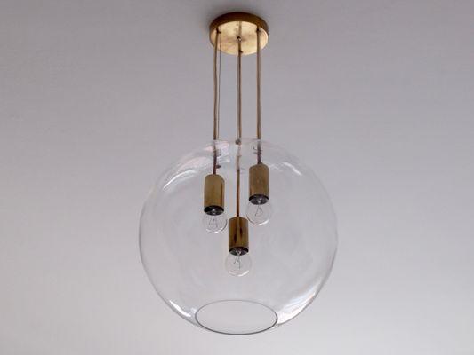 Lampade In Vetro A Sospensione : Lampada a sospensione in vetro e ottone svezia anni in