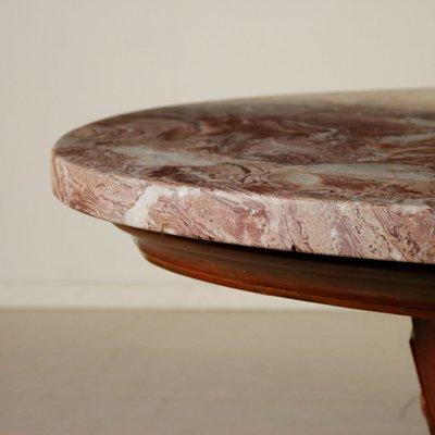 Tavolo in marmo, legno massiccio e impiallacciato in noce, anni \'50 ...
