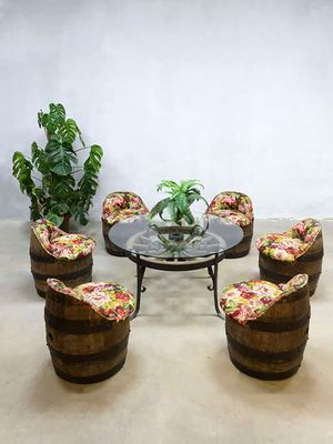 Vintage Barrel Garden Table And Chairs Set 4