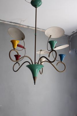 Mid Century Colorful Chandelier With Reflectors 1950s