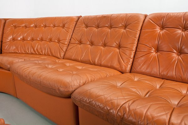 Miraculous Mid Century Sectional Modular Camel Brown Coloured Leather Sofa 1960S Spiritservingveterans Wood Chair Design Ideas Spiritservingveteransorg