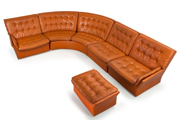 Mid-Century Sectional Modular Camel Brown Coloured Leather Sofa, 1960s