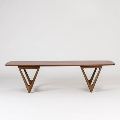 Teak Veneer Surfboard Coffee Table By Kurt Østervig, 1950s 1