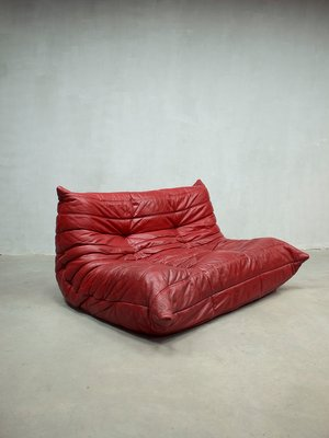 Red Leather Togo Modular Sofa By Michel Ducaroy For Ligne Roset