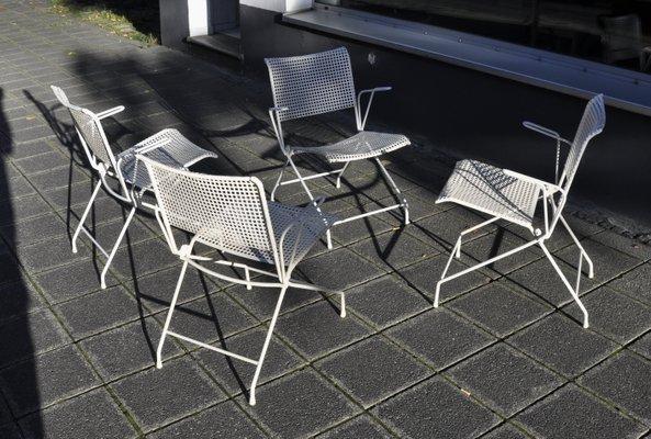 Sedie Da Giardino In Metallo.Sedie Da Giardino Pieghevoli In Metallo Anni 50 Set Di 4 In