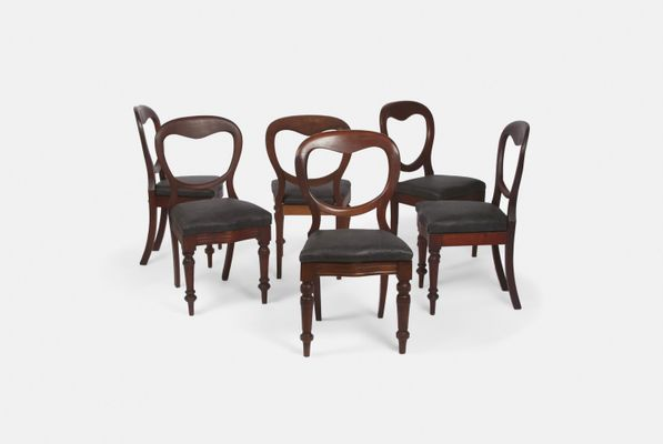Antique Mahogany Dining Chairs with Leather Seats, Set of 6 1 - Antique Mahogany Dining Chairs With Leather Seats, Set Of 6 For Sale