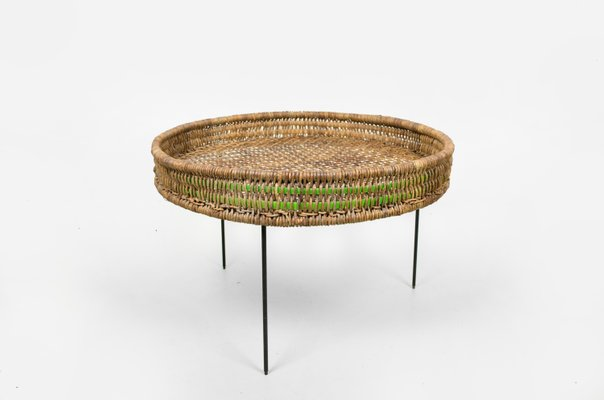 Round Side Table In Rattan With Metal Wire Legs 1950s 1