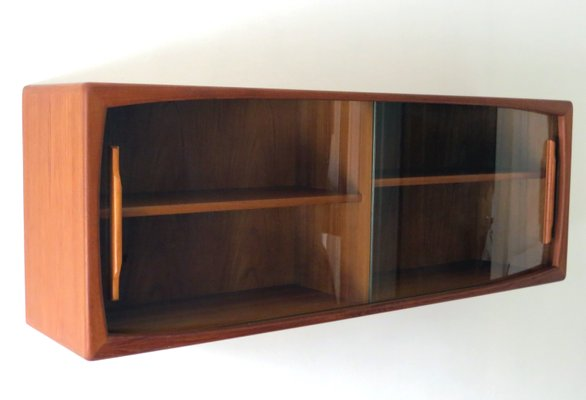 Mid Century Modern Wall Shelf With Sliding Gl Doors From Dyrlund 1960s 3