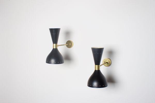 Schwarze italienische vintage diabolo wandlampe bei pamono kaufen