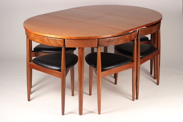 Extendable Dining Table With 6 Chairs By Hans Olsen For Frem Røjle 1950s 1