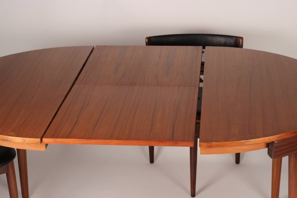 Extendable Dining Table With 6 Chairs By Hans Olsen For Frem Røjle 1950s