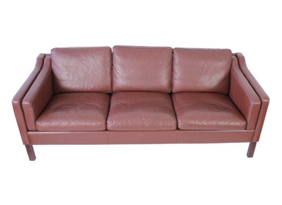Mid-Century Danish 3-Seater Brown Leather Sofa for sale at Pamono