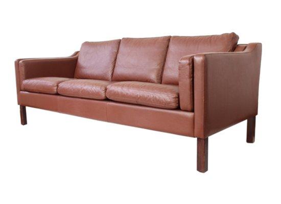 Mid-Century Danish 3-Seater Brown Leather Sofa