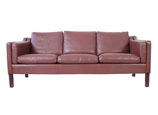 Mid Century Danish 3 Seater Brown Leather Sofa 1