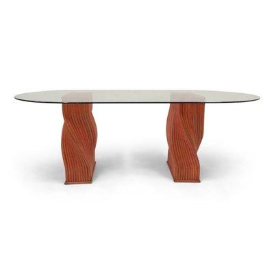 Ripiano In Vetro Per Tavolo.Tavolo Da Pranzo Vintage In Bambu Rosso Con Ripiano In Vetro Di