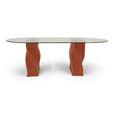 52d0c1375f06 Vintage Red Bamboo Dining Table with Glass Top from Mcguire for sale ...