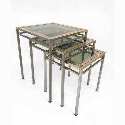 Tables Basses Gigognes En Laiton Metal Verre Fume 1970s