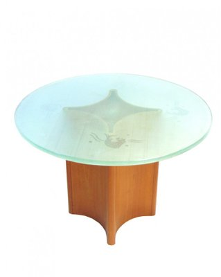 Round Frosted Glass Iluminated Coffee Table With Teak Foot, 1950s 1