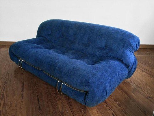 Soriana Blue Velvet Sofa by Afra & Tobia Scarpa for Cassina, 1970s ...