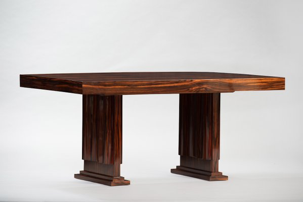 Vintage Art Deco Macassar Ebony Dining Table 1
