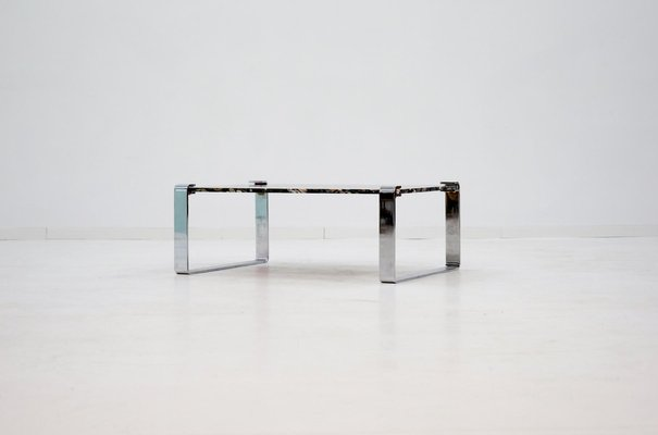 chrome coffee table. Vintage Marble And Chrome Coffee Table By Peter Draenert 1