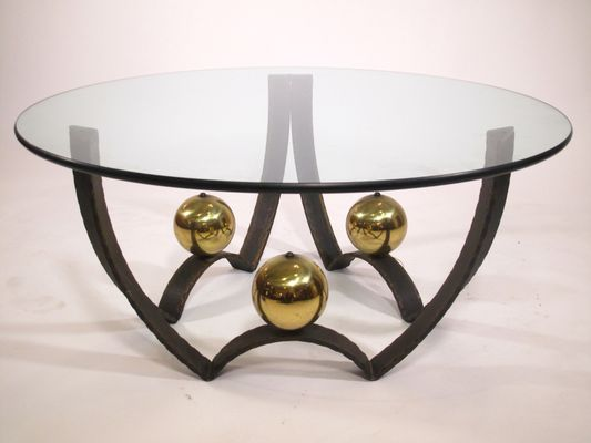 Vintage Glass And Bronze Coffee Table, 1970s 1