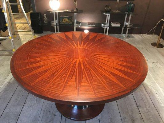 Runder Esstisch Mit Intarsie Aus Holz, 1950er 2