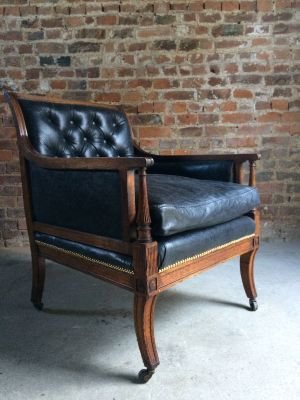 Antique Victorian Leather U0026 Oak Library Chair, 1840s 11