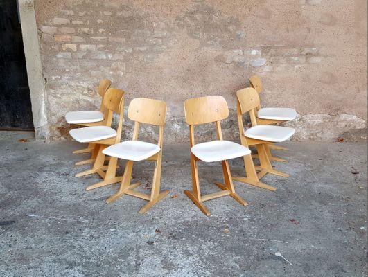 Legno Bianco Vintage : Sedie vintage in legno bianco e chiaro di casala set di in