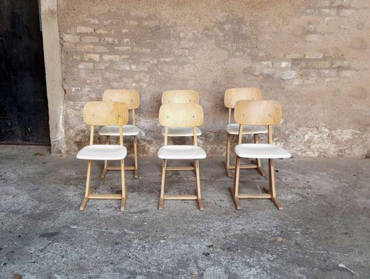 Sedie Bianche E Legno : Sedie vintage in legno bianco e chiaro di casala set di in