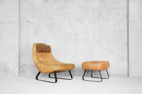 Brazilian Earth Chair And Ottoman By Percival Lafer For Lafer MP, 1970s 1