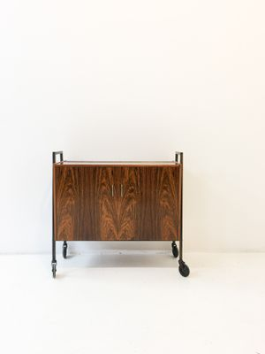 Mid Century Rosewood Bar Cabinet On Wheels 1