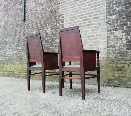 Antique Amsterdam School Chairs, 1910s, Set of 2 2 - Antique Amsterdam School Chairs, 1910s, Set Of 2 For Sale At Pamono